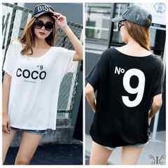 大きいサイズ ドルマン N9プリント COCOロゴ 人気 Tシャツ