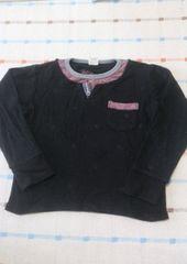 バックナンバーキッズ♪黒シンプル長袖シャツ♪120�p