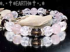 天然石★ローズクォーツ&カット煙水晶&クラック数珠