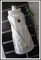 ◆新品◇LL◇春色ホワイト*ニットチュニック♪大きいサイズ
