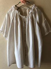 SM2☆鍵編みレース襟の綿麻半袖ブラウス