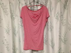 ベネトン半袖赤色レッドボーダーストライプカットソーTシャツ