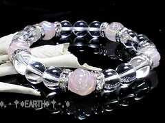 天然石★薔薇彫りローズクォーツ&天然水晶数珠