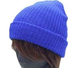 帽子♪アクリル ダブル ワッチ ニット帽 キャップ*ブルー*