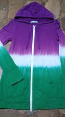 Dazzlin'/ダズリンスウェットパーカー紫白緑タイダイ&アジアン好きにも