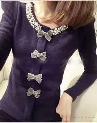 999円SALE★パールビジューセーター/紫♪人気ネックレスおまけ