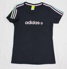 アディダス*adidasラメロゴ*パステルカラー3本線Tシャツ(M)ネイビーused