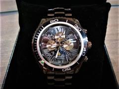 正規J-STAR◆フルブラックムーンフェイス腕時計◆オメガ系