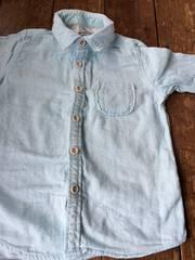 新品 ガーゼシャツ size110 ブルー