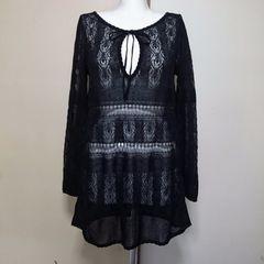 新品サバーゼ/ワールド上質エレガントな鉤編みニットチュニック黒\17745