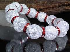 クラック水晶14ミリ§レッドロンデル数珠