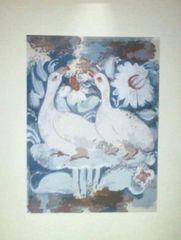 色摺木版画 古代壁画風『花の中の二羽の白い鳥』作者不詳 真作