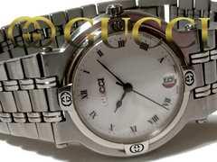【コマ付】1スタ グッチ/Gucci 定価13万 9100M 美品メンズ腕時計