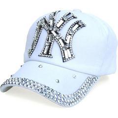 帽子♪ビジュー×ストーン NY ニューヨーク キャップ ホワイト