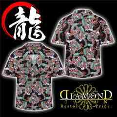 送料無料和柄龍総柄アロハシャツ/オラオラ系ヤクザチンピラヤンキー半袖服28黒-XL