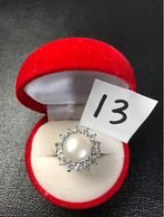 送料無料!新品 Pt プラチナ 本物 真珠 リング 指輪 13号