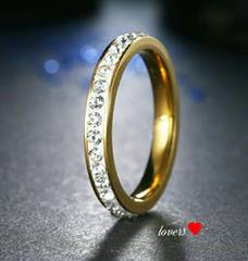 送料無料27号ゴールドスーパーCZダイヤフルエタニティリング指輪