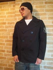 【TOMMY】ワッペン付き立ち襟コットンPコート黒M♪トミーピーコート