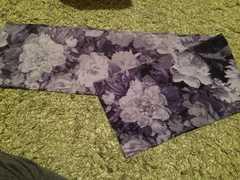 キレイ色花柄スカーフ、リボンにも 美品
