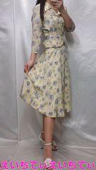 新品♪ミセスエレガント クリーム/花柄 ボリュームフレア ゆるふわスーツ♪�H