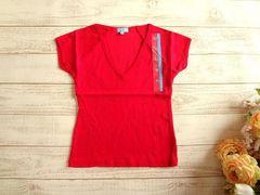 新品 Kilometro Cero 赤 Vネック 半袖 Tシャツ 無地 M