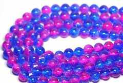 天然クラッシュレインボー水晶  青/ピンク 10mmビーズ1連