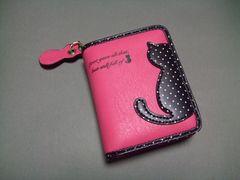 【即決 激安】可愛らしい〜猫ちゃん2つ折財布 新品 ピンク系