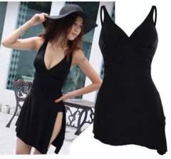 新品【7148】5XL★ar(大きいサイズ)黒★裾斜めワンピース水着