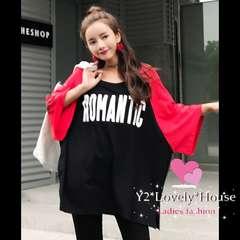 〜4L*大きいサイズ*ROMANTICロゴラグランスリーブTシャツ*黒赤