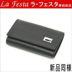 本物新品同様◆グッチ【Gロゴ】6連キーケース(黒:レザー/箱