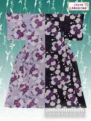 【和の志】個性派◇半身仕立て浴衣◇紫藤系・八重桜◇HNAF-8