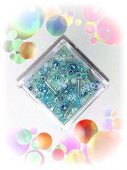 ¥50均一☆『小粒ビーズMix』ブルー系[ガラス&アクリル]約650粒♪1.5-3mm