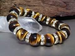 タイガーアイ12ミリ§金ロンデル虎目石数珠