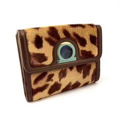 正規未使用フェラガモハラコWホック財布サイフレオパード柄Ferragamoレザー