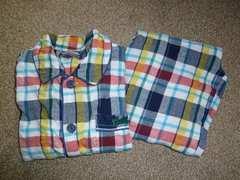 チェック柄パジャマ♪長袖長ズボン上下セット♪120サイズ
