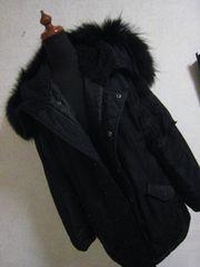 エモダ/EMODA 黒モッズコート?★フードファーアウター暖かい♪