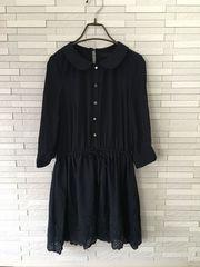 即決/MERCURYDUO/七分袖シフォンレース刺繍フレアワンピース/紺F