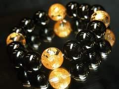 邪気祓い効果!!金彫皇帝龍水晶×ブラックオニキス数珠ブレスレット