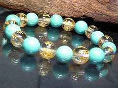 守り本尊十二支梵字水晶ターコイズ10ミリ数珠