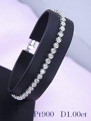 【即買】Pt900  1.00ct ダイヤモンド テニスブレスレット 17cm C48★dot