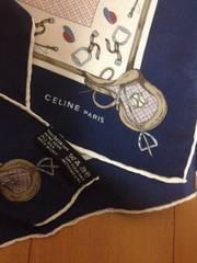 sale未使用・セリーヌのスカーフ>白地に紺赤トリコロール