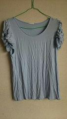 GU☆*水色★袖デザイン。半袖カットソー★XL