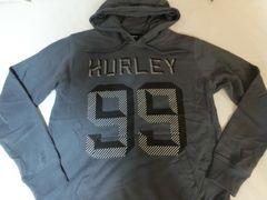 サーフ系【hurley】ロゴプリント プルオーバーパーカーUS L 濃灰