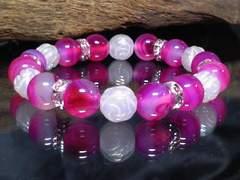 情熱§ピンクストライプアゲート薔薇彫ローズクォーツ数珠