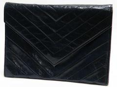 YSL イヴ・サンローラン クラッチバッグ レザー 黒 ヴィンテージ