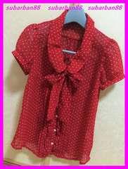 ☆超美品☆ドットリボンシフォンフレアシャツ赤M