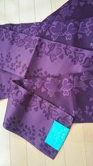 ゴージャス浴衣の帯ラブリーハート紫花びら夏祭り花火大会