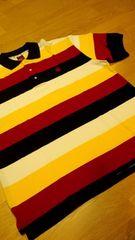 elementカノコボーダーポロシャツ 黄色赤紺 ロゴ刺繍 サイズXXL �A