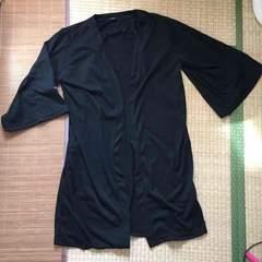袖レッドローズ刺繍五分袖ロングカーディガン。ブラックL