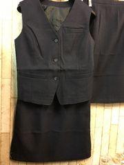 新品☆9号ベストスーツ紺スカート2枚付き!お仕事オフィスj789